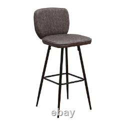 Vintage 2x Bar Stools Breakfast Chairs Dining Chair High Legs Kitchen Dark Grey