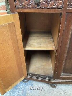 Vintage Antique Brown Wooden Sideboard Cupboards Drawers with Feet