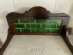 Vintage Antique Green Tile Marble Washstand Hall Stand Table Cupboard & Drawer