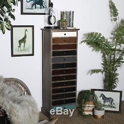 Vintage Apothecary Cabinet Tall Chest Drawers Industrial Style Tallboy Furniture