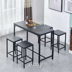 Vintage Bar Table and 2/4 Stools Set Industrial Breakfast Bar Table Dining Set