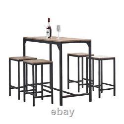 Vintage Bar Table and 4 Stools Set Breakfast Bar Table Dining Set Industrial UK