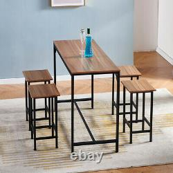 Vintage Bar Table and 4 Stools Set Industrial Breakfast Dining Set Retro Table
