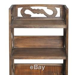 Vintage Bathroom Cabinet Tall Wooden Furniture Laundry Storage Unit 2 Cupboards