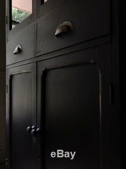 Vintage Black Painted Display Glazed School Cupboard Bookcase Cabinet
