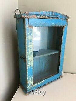 Vintage Blue Painted Distressed Bathroom Kitchen Cabinet Wall Cupboard Rack 40cm