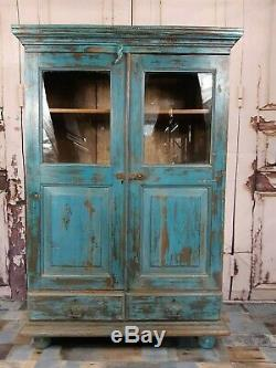 Vintage Blue Teak Indian Wooden Display Cocktail Drinks Kitchen Cabinet Cupboard