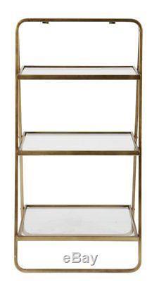 Vintage Bookcase Ladder Display Glass Shelves 3 Tier Antique Brass Metal Frame