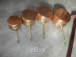Vintage COPPER brass SET 4 SAUCEPANS PANS saute pots wooden display stand retro