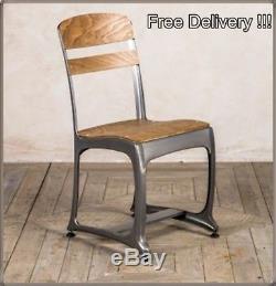 Vintage Chair Set 2 Dining Seats Retro Living Room Grey Garden Industrial Design