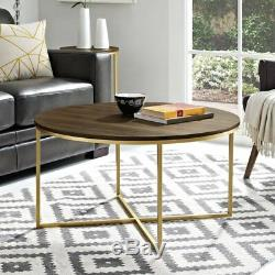 Vintage Coffee Table Furniture Living Room Wooden Round Top Gold Metal Frame New