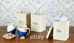 Vintage Cream Enamel Tea Coffee Sugar Kitchen Storage Canisters Jars Pots Set