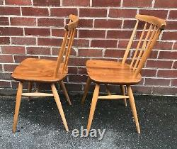Vintage ERCOL Dining Chairs Model 737 Stick Back Kitchen Mid Century Retro 70s