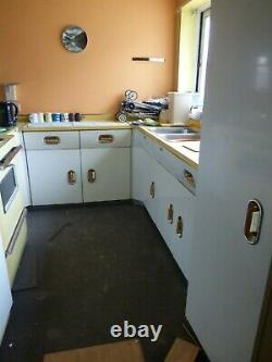 Vintage English Rose Kitchen White & Orange plus Formica Worktops Multiple Units