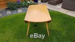 Vintage Ercol Blonde Elm Drop Leaf Dining Table Model 384 & 4 Quaker Dining Chai