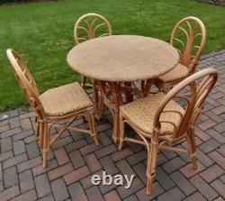 Vintage Faux Wicker Plastic Resin Bamboo Dining Table & 4 Chairs