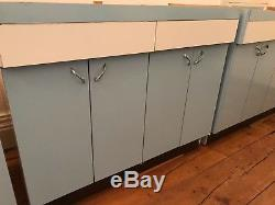 Vintage Formica 1970s Kitchen Units Blue Base Wall Retro 1950s Large