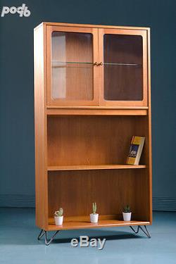Vintage G Plan Mid Century Retro Teak Book Case Glass Display Cabinet Shelves