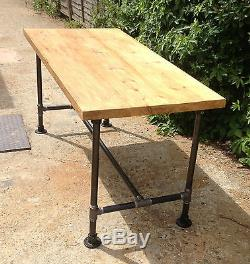 Vintage Gas Pipe Rustic Country Farmhouse Kitchen Dining Table Shabby Chic