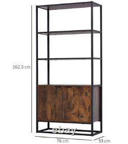 Vintage Industrial Bookcase Large Rustic Shelf Tall Side Cabinet Display Storage