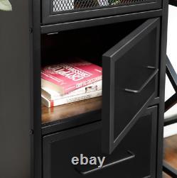 Vintage Industrial Bookcase Narrow Shelving Unit Rustic Metal Door Tall Cabinet