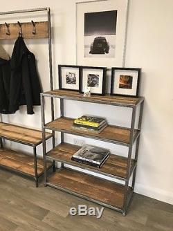Vintage Industrial Bookcase / Shelves Reclaimed Wood Heavy Duty Metal Frame