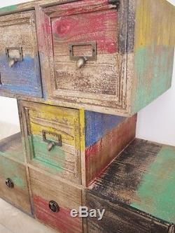 Vintage Industrial Cabinet 6 Drawers Retro style Storage Chest multicolour