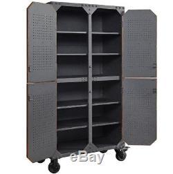Vintage Industrial Cupboard Large Metal Furniture Wooden Storage Cabinet Unit