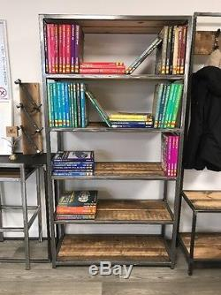 Vintage Industrial Style Bookcase / Shelves Reclaimed Wood Metal Frame