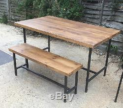 Vintage Industrial Style Chic Rustic Table and Bench Set Metal Frame Chunky Wood