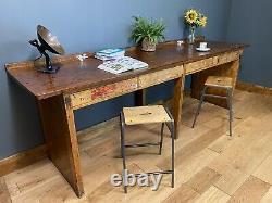 Vintage Kitchen Breakfast Bar/ Kitchen Table Island / School Lab Bench / Desk D