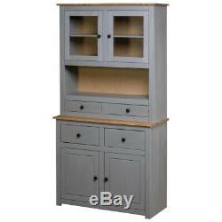 Vintage Kitchen Larder Cabinet Grey Large Pine Cupboard Storage Pantry Rustic