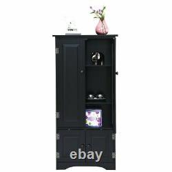 Vintage Kitchen Pantry Larder Black Cabinet Cupboard Storage Unit Shelves Wooden