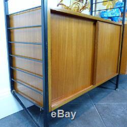 Vintage Ladderax Staples modular 2 bay display 60s Heal mid century modern retro