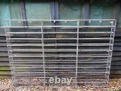 Vintage Large Industrial Style Metal Wire Wall Shelving Rack Unit Compartments