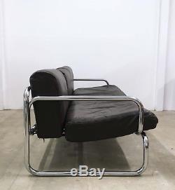Vintage Leather & Chrome 3 Seater Sofa by Rodney Kinsman MID CENTURY RETRO