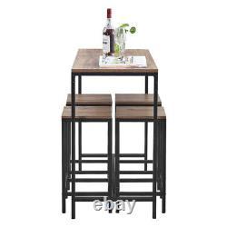 Vintage MDF Bar Table And 4 Stools Set Industrial Breakfast Dining Set Kitchen