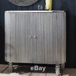 Vintage Mirrored Wine Cabinet Furniture Retro Silver Drinks Bar Shelves Storage