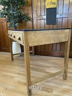 Vintage Oak Desk \ Table \ Workbench \ Kitchen Island \ Mid Century \ School