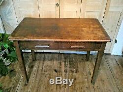 Vintage Oak Dining Kitchen Table With Handy Drawers Retro Mid-century