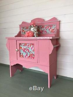 Vintage, Pink, Washstand, hand painted, cabinet, sideboard, Flamingo, cupboard