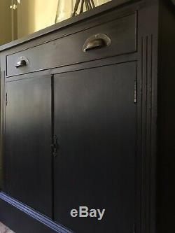 Vintage Reproduction Painted Black Chiffonier Sideboard Server Hall Cupboard