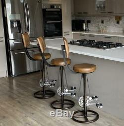 Vintage Retro Bar Stool with Backrest Bicycle Pedal Real Leather Kitchen Bar Pub