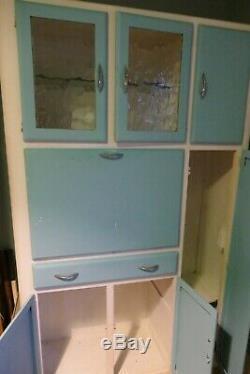 Vintage Retro Blue Kitchen Larder Pantry Cabinet Unit collect YORK 1950s1960s