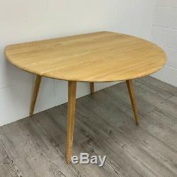 Vintage Retro Ercol Model 384 Drop Leaf Dining Kitchen Table Blonde Finish