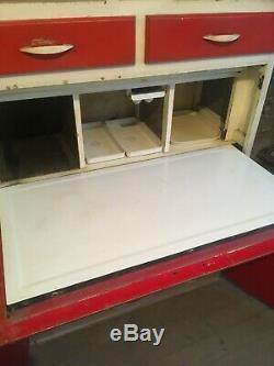 Vintage Retro Hollins of London 1950s red freestanding kitchen cupboard