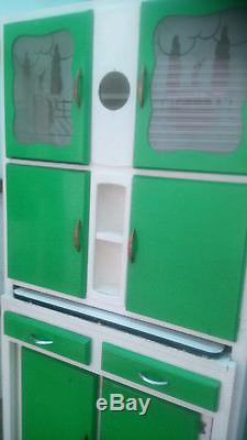 Vintage Retro Kitchen Larder Cupboard with Enamel Worktop Decorative Glass Doors