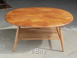 Vintage Retro MID Century Light Elm Ercol Coffee Table With Magazine Rack