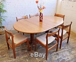 Vintage Retro Mid Century Modern Danish Teak Extending Dining Table and 6 Chairs
