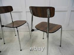 Vintage Retro Rosewood Formica Chrome TAVO kitchen dining stacking chairs 1960s